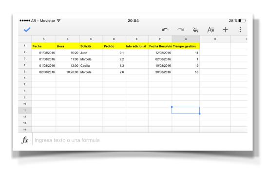 Planilla Excel usada desde el Celular (Google App Planilla de Cálculo)